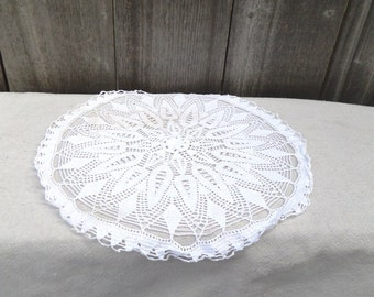 Vintage WHITE Round Crocheted Doily