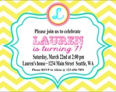 GIRLY CHEVRON Happy Birthday Party or Baby Shower Invitations Set of 12 {1 Dozen} - Party Packs Available