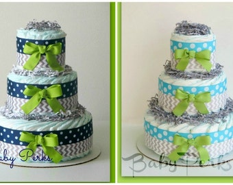 Boys Baby Shower ,Oh Baby Chevron Aqua & Lime, Baby Diaper Cake, Baby Shower Decorations, Navy and gray