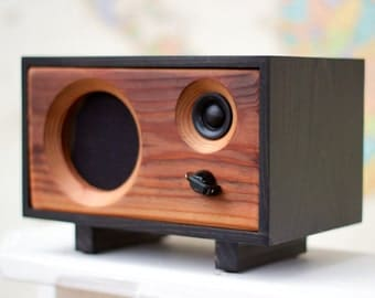 wood desk speaker reclaimed wood wireless bluetooth speaker fawn ...