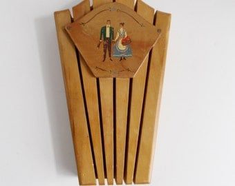 Vintage Knife Holder Wooden Folk Art Couple
