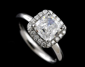 Platinum Contemporary Style Cushion Moissanite Diamond Halo Moissanite Engagement Ring