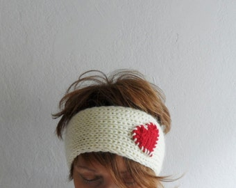 Knit Heart Headband Cream and Red, Ear warmer, Headwarmer, Head Wrap, Gift under 25, Gift for her,Winter Accessories,Valentines Day
