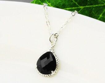 Black Crystal Necklace - Black Bridesmaid Necklace - Silver Black Glass Pendant Necklace - Bridesmaid Gift - Bridesmaid Jewelry - Wedding