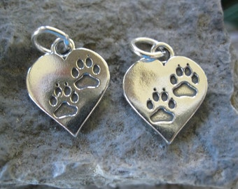 2 Charm Sterling Silver Paw Print Heart  Bear Totem Cat Dog 16 MM 1Pair