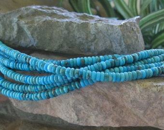 Natural Turquoise Beads Sleeping Beauty 5mm Blue Tire Bead 8""