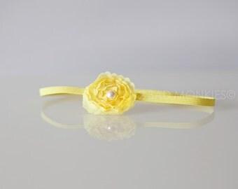 Yellow Baby Headband, Yellow Newborn Headband - Yellow Flower Headband - Baby headbands, Yellow headband, Baby girl headband