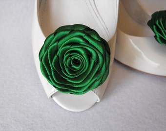 Handmade rose shoe clips in emerald green