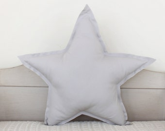 Star shaped Pillow or cushion - Washed grey, soft cotton
