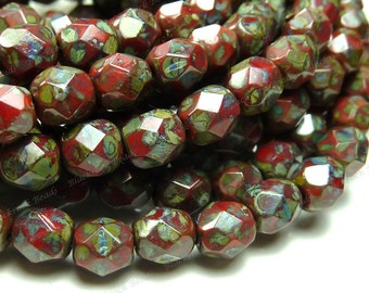 6mm Opaque Red Picasso Czech Glass Beads - 30pc Strand - Round, Faceted - BD13