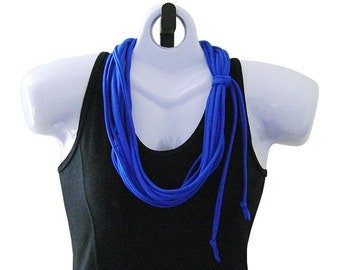 FABRIC NECKLACE, Royal Blue, Tshirt Scarf, Recycled fabric. Ready to Ship