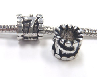 3 Beads - Number Numeral 7 Silver European Bead Charm E1067