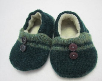 Infant's green striped wool slippers fleece-lined 6-9 mos. OOAK  RTS Baby shoes Infants shoes