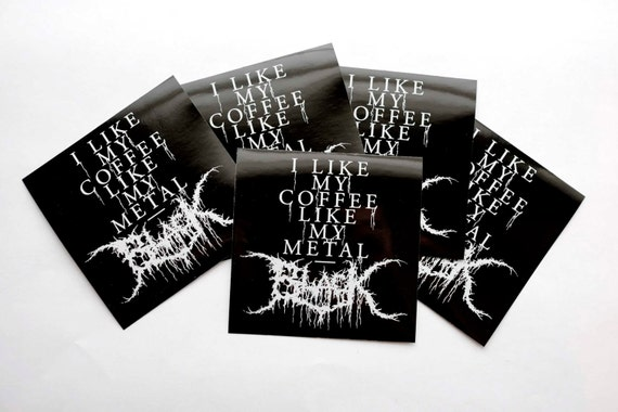 Black Metal Coffee Sticker (5 pack)