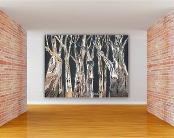 Extra Large Wall Art Oversized Living Dining Room Masculine Decor Huge Canvas Print Tree Trunk Gray