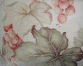 Pair of French Country Pillow Cover w/ grapes and grape leaves in earthtones and ticking back