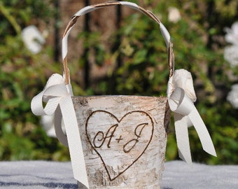 Personalized Shabby Chic - Rustic Flower Girl Basket Wood/birch Bark