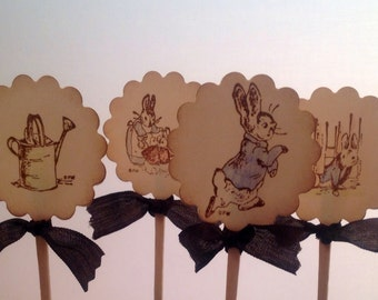 Cupcake Toppers Picks Peter Rabbit-set of 12