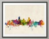 Miami Skyline, Miami Florida Cityscape Art Print (610)