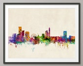 Birmingham Skyline, Birmingham England Cityscape Art Print (254)