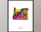 Oregon Map USA, Art Print (1155)