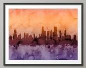 Chicago Skyline, Chicago Illinois Cityscape Art Print (1246)