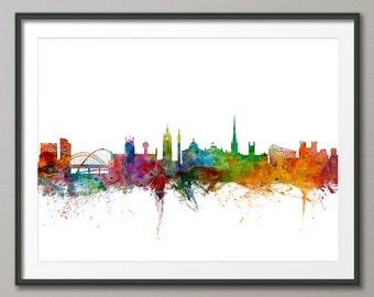Newcastle Skyline, Newcastle England Cityscape Art Print (991)
