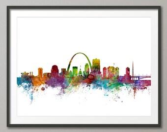 Horizonte de St Louis, impresión del arte de la ciudad de St Louis Missouri (1222)