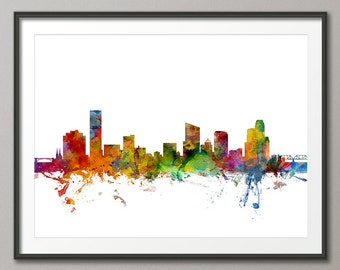Grand Rapids Skyline, Grand Rapids Michigan Cityscape Art Print (1235)