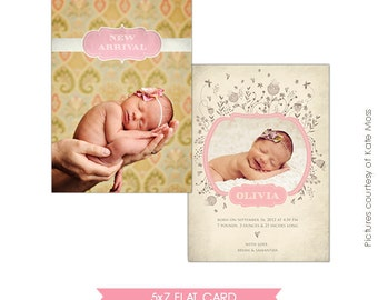 INSTANT DOWNLOAD - Birth announcement Photoshop template - Olivia- E273