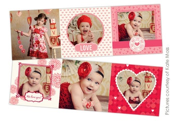 INSTANT DOWNLOAD - 5x5 Accordion card - Photoshop template Hearts - E324