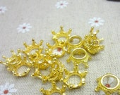 European Crown Charms Gold Plated 12 x 6 mm 3D  Ships From The United States - ec134