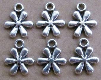 6 Flower Charms Antique Tibetan Silver Tone 13 x 11 mm -  ts428