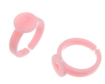 10 Children's Ring Blank Base Pink Plastic Size 3 - mo30