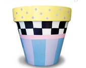 Hand Painted Flower Pot Black & White Check With Pastels - 8-inch