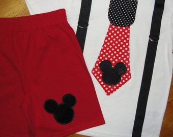 Mickey Mouse Birthday Shirt and Shorts Set Tie and Suspenders Disney Vacation or Birthday Outfit