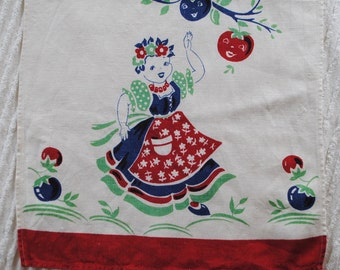 1940s Kitchen Towel, Girl with Anthropomorphic Fruit, Red, Blue, White, Mint Green