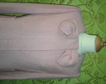 RED Valentino collection inspired bow-neck concealed closure dusty rose fulled loden wool jacket coat