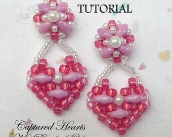 PDF Tutorial Beaded Earrings, SuperDuo Tutorial, Seed Bead Earrings, Earring Tutorial, Beadwork Tutorial, Earring Pattern,Tutorial