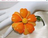 Vintage Orange Yellow Enamel Flower Brooch