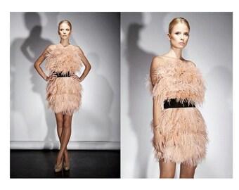 Brose Inspired Custom Feather Dress Strapless w/belt Custom