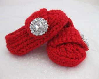 Baby Girl Shoes / Booties - Christmas Red Jewel - YOUR choice size - (newborn - 12 months) - photo prop - crochet