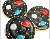 Planet & Stars Sugar Cookies Outer Space Iced Decorated Cookies Birthday Favors Boy Party Science Theme Astronaut