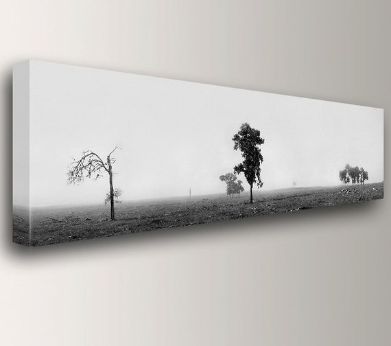 """Panoramic Art - Black and White - Landscape Photography - Canvas Print - Nature Wall Decor - """" Isolation"""""""