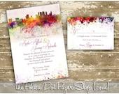 Atlanta Graffiti Watercolor Skyline Wedding Invitation Watercolor Invitation / Modern Invitation / New York / Toronto / San Francisco