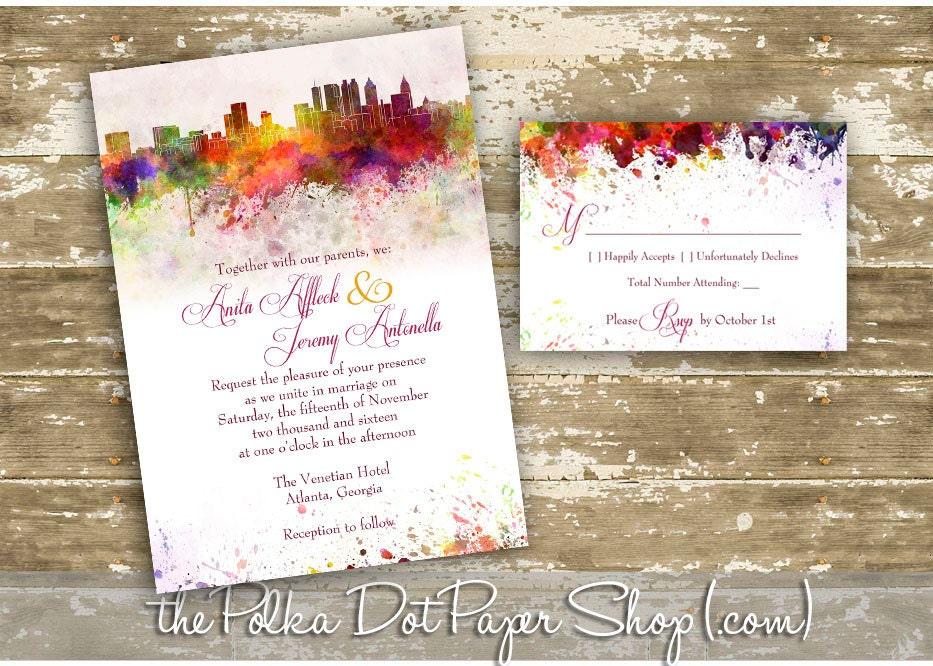 Atlanta Wedding Invitations: Atlanta Graffiti Watercolor Skyline Wedding Invitation