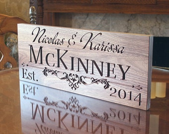 Family Name Sign, Personalized Last Name Wood Sign, Custom Wedding Sign, Custom Date Sign, Benchmark Custom Signs, Walnut IG