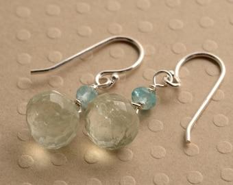 Green Amethyst Earrings - Light Green Gemstone Earrings - Gemstone Dangle Earrings - Sterling Silver Earring