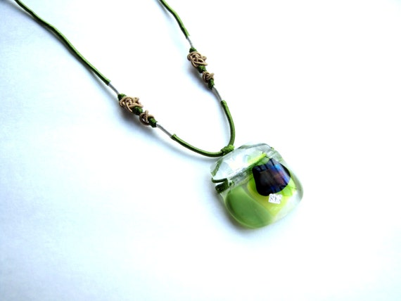 Green Necklace with Dichroic Glass Pendant OOAK Recycled Glass