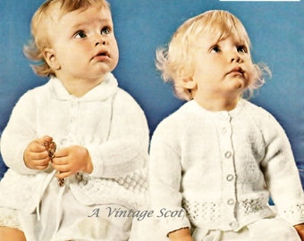 Baby Dk Matinee Coat and Matinee Jackets 2 styles 20 and 22 ins - Bairnswear 1813 - PDF of Vintage Knitting Patterns